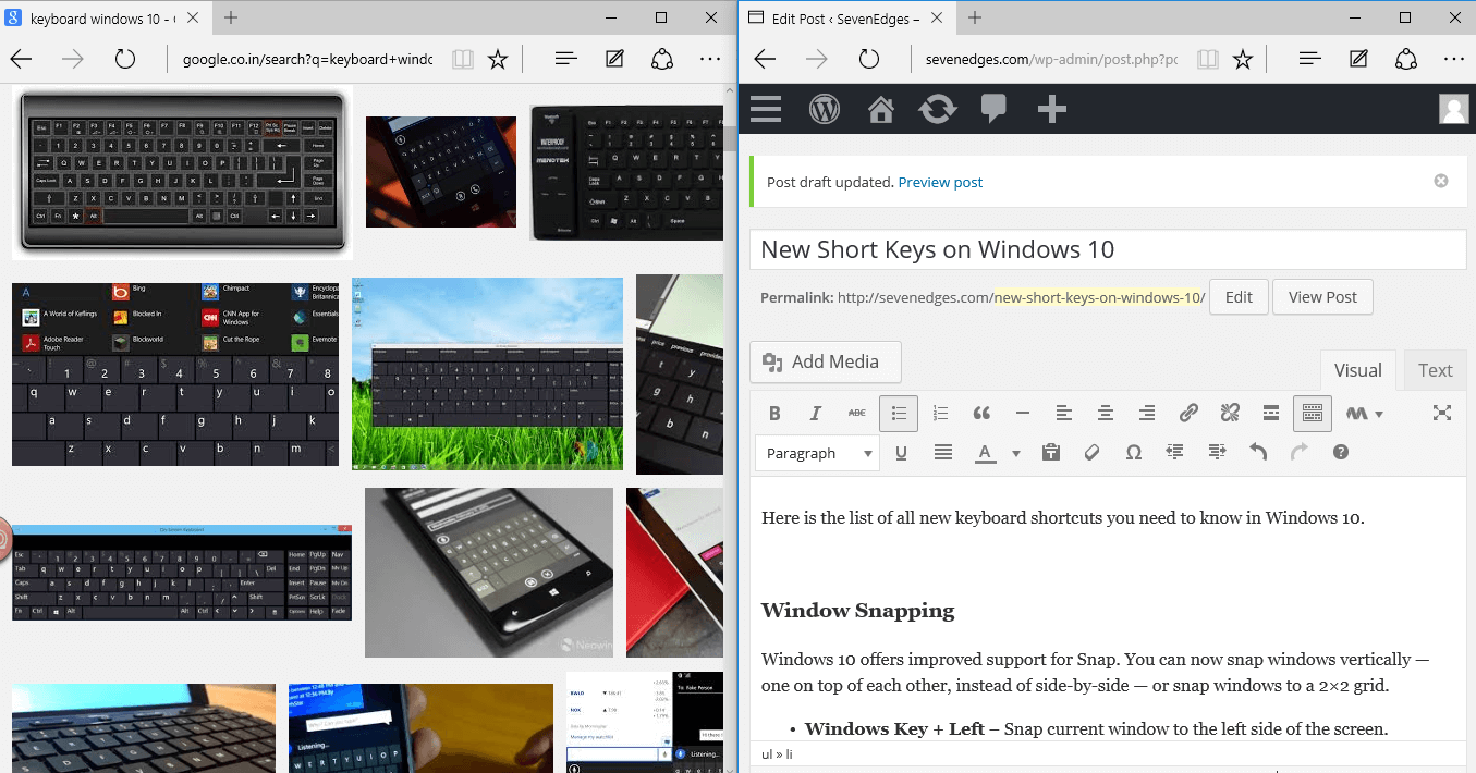 New Shortcut Keys on Windows 10