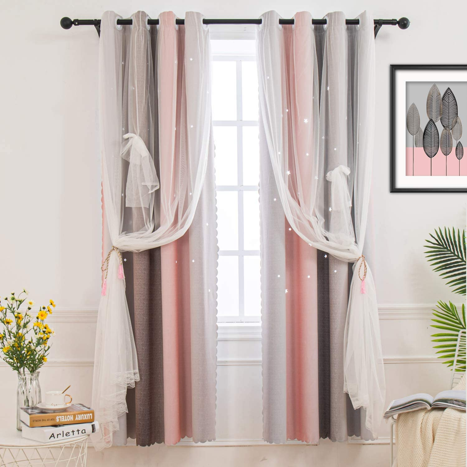 Grey Pink Curtain