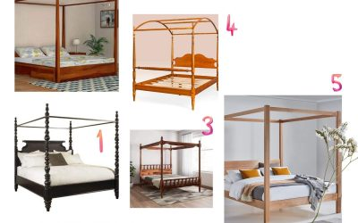 Wood Canopy Bed to give a Farmhouse Touch