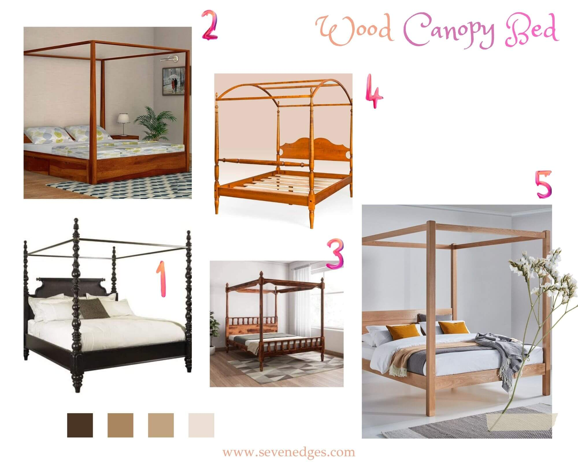 Wood Canopy Bed