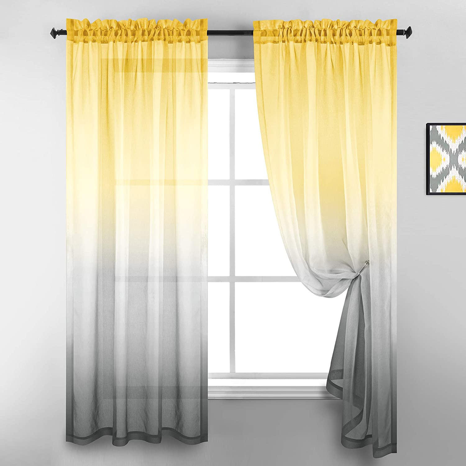 Yellow and Grey Curtain