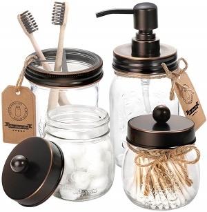Mason Jar Bathroom Accessories Set
