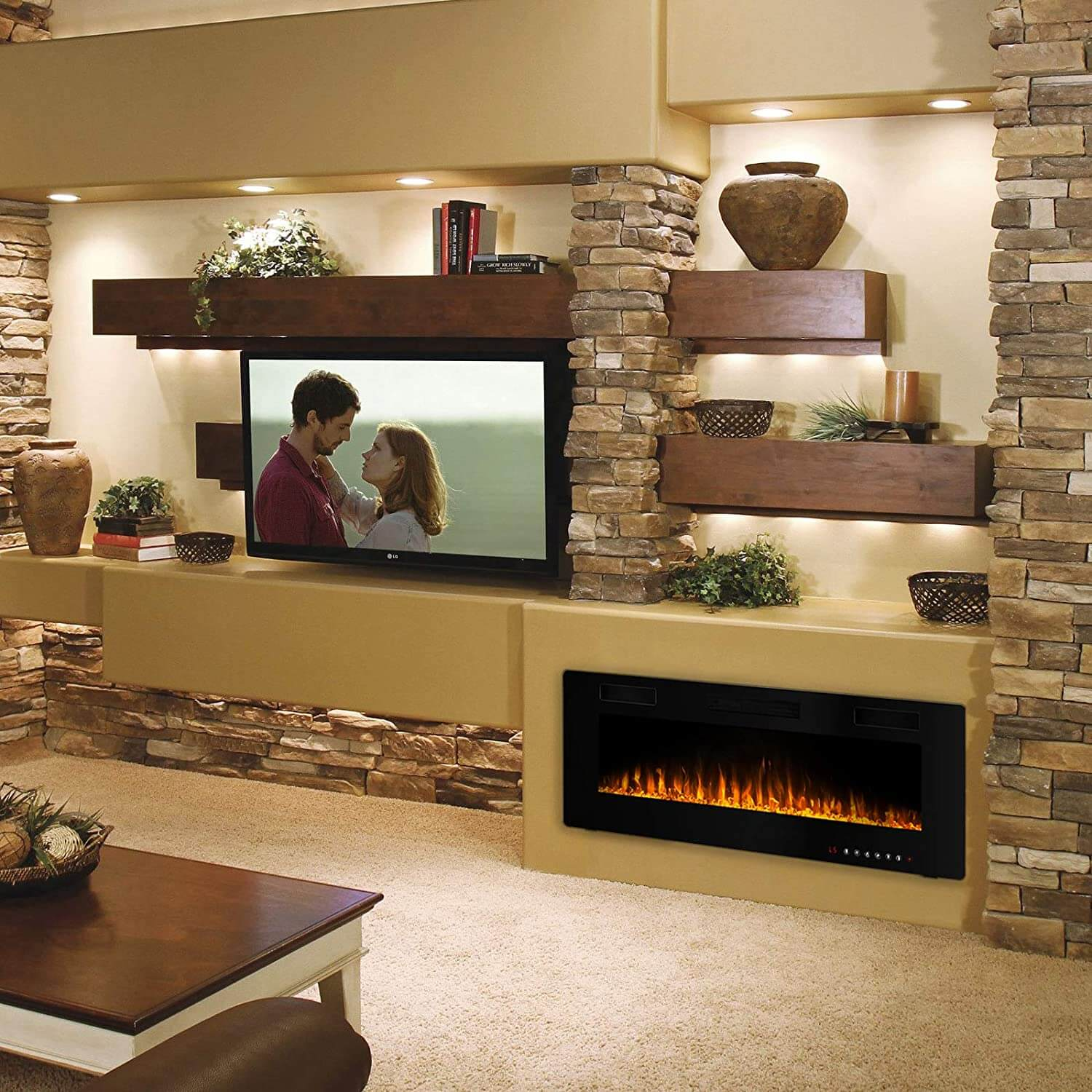 Recessed and Mounted Electric Fireplace