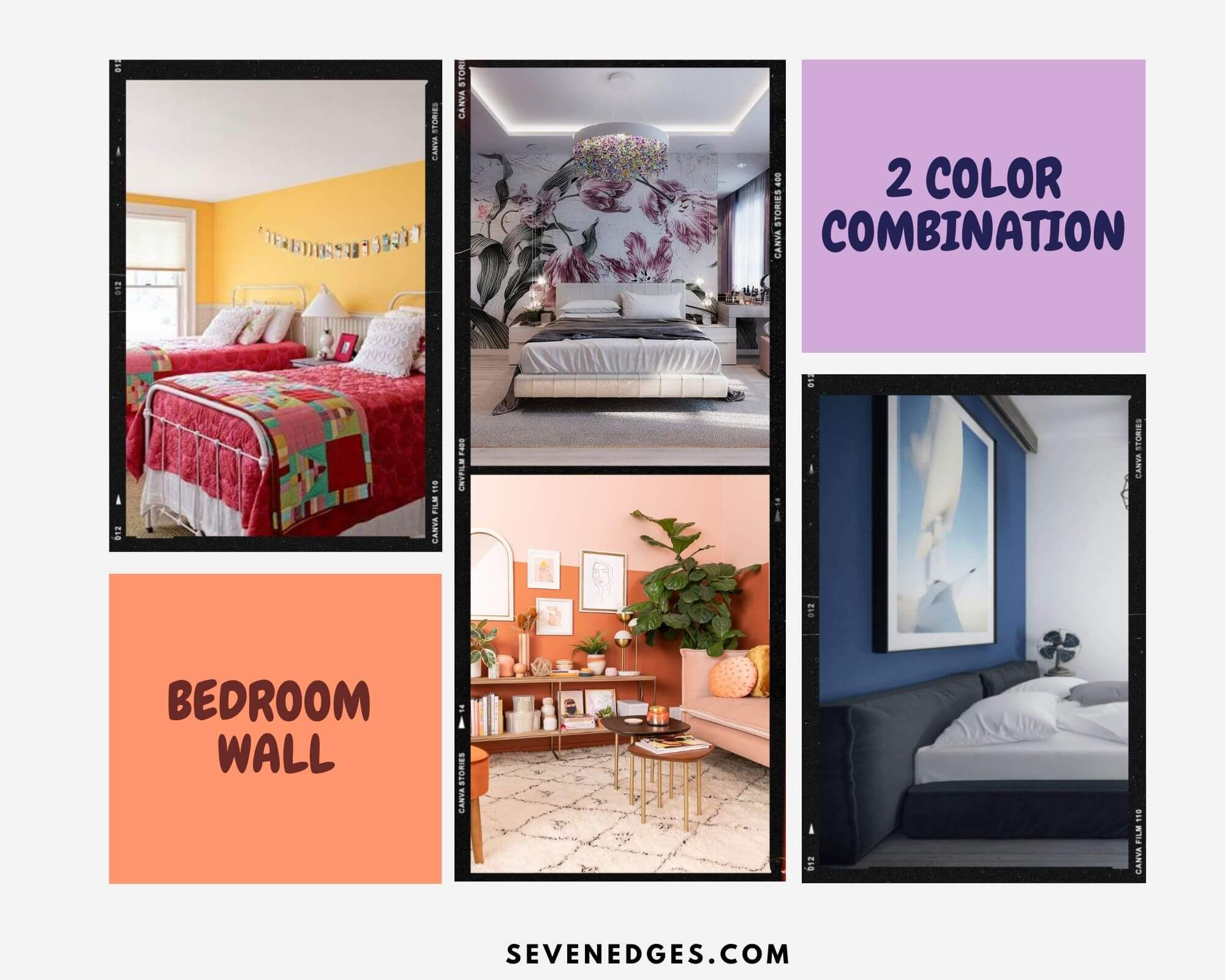 Two Colour Combination for Bedroom Wall